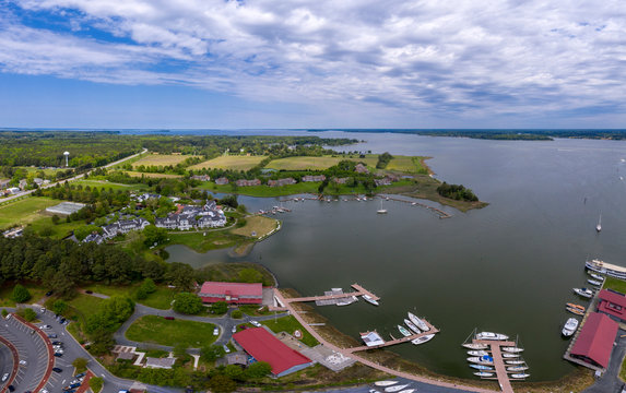 St. Michaels Maryland chespeake bay aerial view panorama