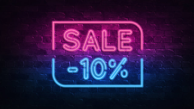 sale 10% off neon sign. purple and blue glow. neon text. Brick wall lit by neon lamps. Night lighting on the wall. 3d illustration. Trendy Design. light banner, bright advertisement