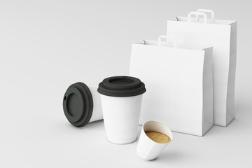 Set of white paper shopping bag and coffee cups on white background. 3d rendering