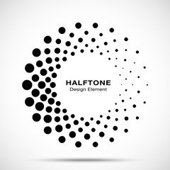 Wall Mural - Halftone circle dotted frame circularly distributed. Vector dots logo emblem design element. Round border Icon using random halftone circle dot raster texture. Half tone circular background pattern.