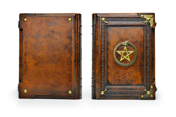 Brown leather book cover with gilded pentagram and the Ouroboros symbol, surrounded with deeply embossed frame and metal corners - captured stand up frontal