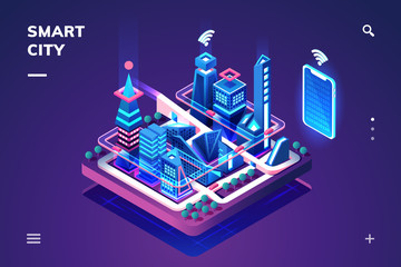 Poster Violet Smart city or isometric town. 3d skyscrapers and smartphone with wi-fi or internet of things, iot or gps, tracking technology. Cityscape illustration connected with phone or tablet controller. Future