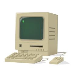 funny cartoon illustration of a retro computer