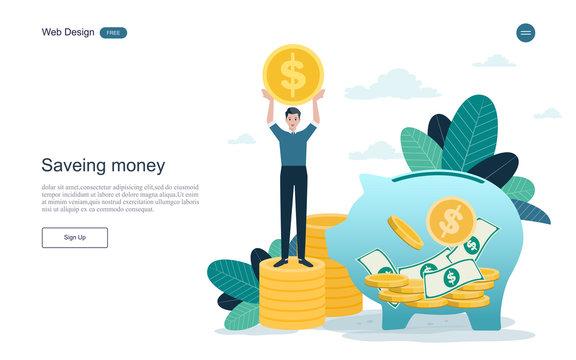 Business and finance concept for save money. Profit, piggy bank, making money.vector illustration.