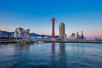 Wall Mural - Port of Kobe skyline before sunset, Kansai, Japan