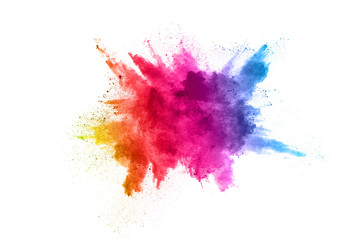 Foto op Textielframe Vormen Multicolor powder explosion on White background. Colored cloud. Colorful dust explode. Paint Holi.