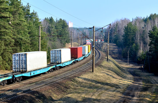 Freight train, transportation of railway cars by cargo containers  shipping. Railway logistics concept