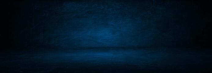 Fototapete - dark blue cement wall studio background
