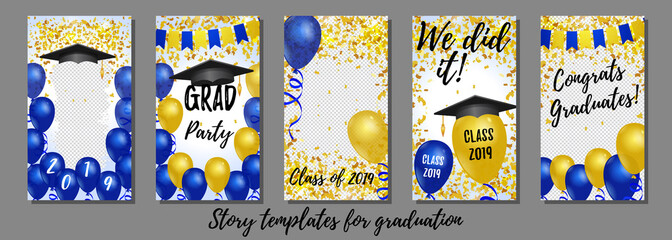 Graduation vector story templates for social networks