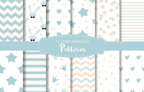 Blue background baby boy design Baby shower vector set rabbit stars zigzag patterns