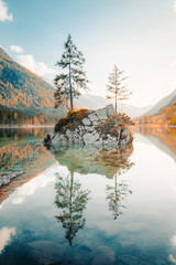 Lake Hintersee at sunset, Bavaria, Germany