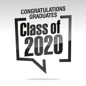 Graduating class of 2020 isolated on silver white background