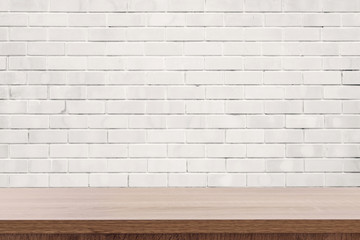 white brick wall and wooden table with copy space, display montage for product
