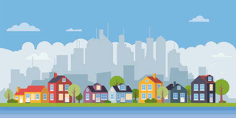 Suburban village flat design cityscape banner vector illustration
