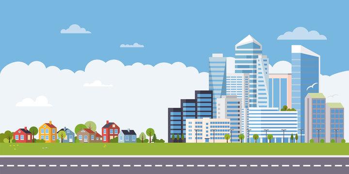 Suburban to urban flat design landscape banner vector illustration