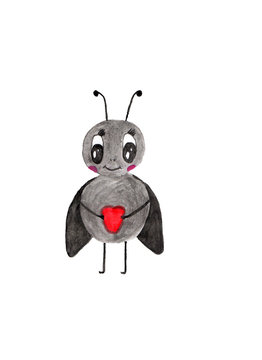 gray insect with black wings and antennae, holding a red heart in its paws