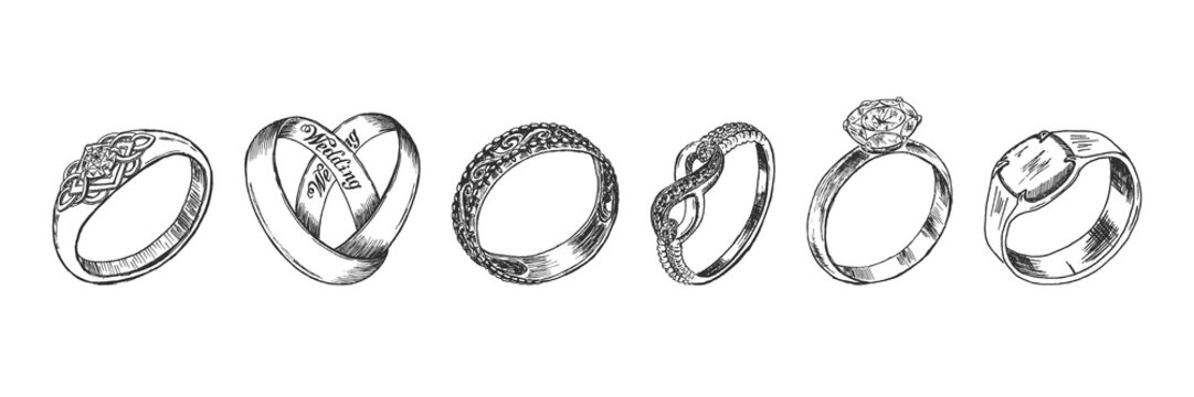 Different isolated jewelry rings set