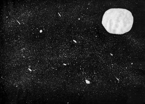 white moon and stars in the night sky