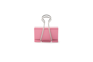 Pink paper clip isolated on white background with clipping mask.