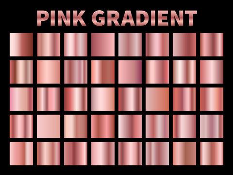Pink metallic gradients. Golden rose gradient foil, shiny roses metallic plate border frame ribbon cover label. Vector templates