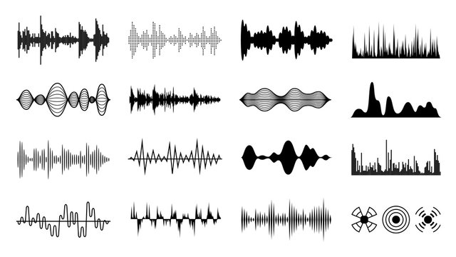 Sound waves set. Black digital radio musical wave. Audio soundtrack shapes. Player pulse forms isolated vector set
