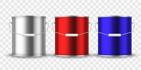 Paint steel can. Silver bucket metal cans package paint aluminum container with handle for interior renovation realistic vector mockup Wall mural