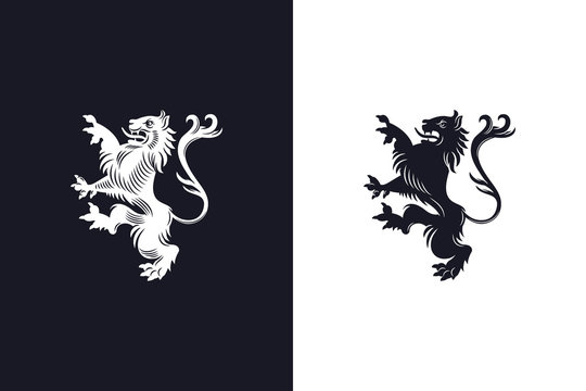 Rampant heraldic lion design on light and dark backgrounds
