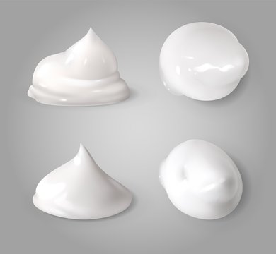 Realistic cream foam. White mousse or foaming milk gel drops light ointment beauty product vector texture forms