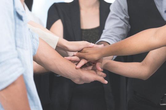 Business teamwork hands unity Closeup at hands