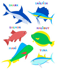 Cute fishes. Vector cartoon illustration.