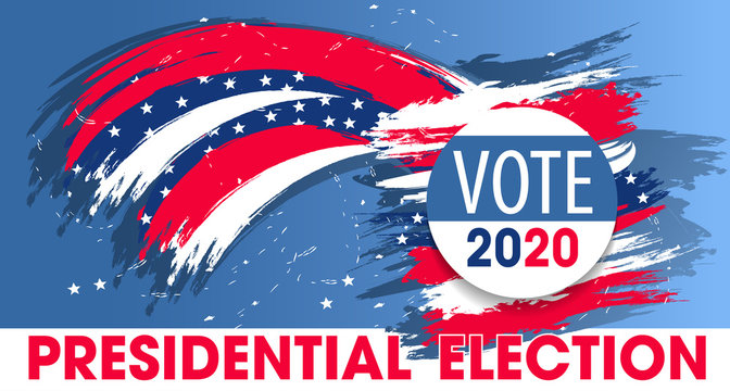 United States of America Presidential Election. Colorful modern banner. Vote 2020 USA dynamic design elements for a flyer, presentations, poster etc. Vector