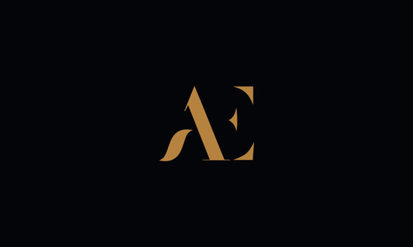 AE logo design template vector illustration
