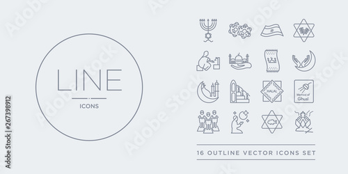 16 line vector icons set such as incense burner, inclined fish, isha