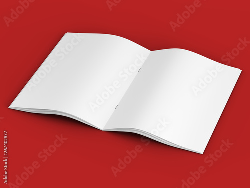 Open magazine in A4 format, vertical position  - 3d