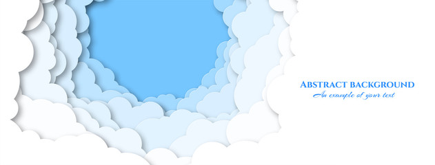 Design for social caps, signage, horizontal banners with sky and clouds. Paper cut pattern. Vector illustration