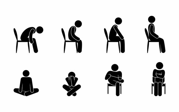 sitting person stick figure man pictogram icon people set