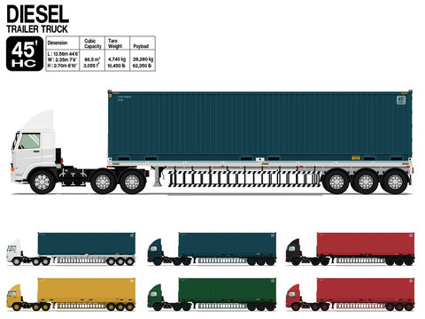 Isolated Diesel semi trailer truck 45 ft on transparent background