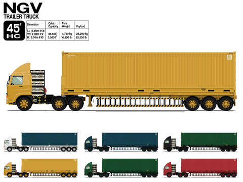 Isolated NGV semi trailer truck 45 ft on transparent background