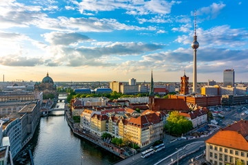Foto auf AluDibond Berlin Berlin cityscape with Berlin cathedral and Television tower, Germany
