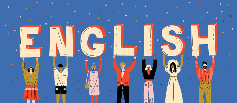 Diverse people holding letters word English. Learn foreign language