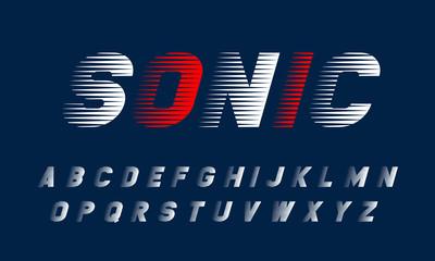 Obraz Vector speed alphabet set. Modern stylized dynamic font. SONIC typeface for your design. - fototapety do salonu