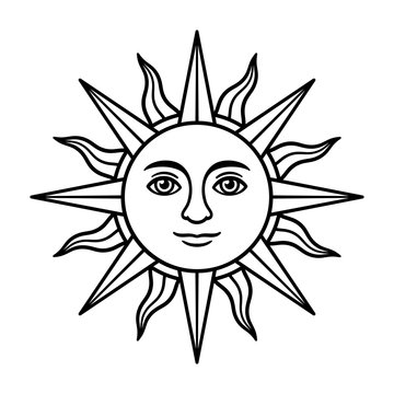 Vintage sun with face