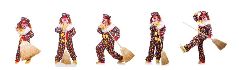 Clown with broom isolated on white Wall mural