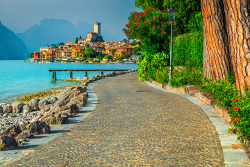Wall Mural - Malcesine cityscape with promeande and lake Garda, Veneto region, Italy