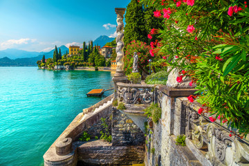 Wall Mural - Lake Como with luxury villas and spectacular gardens, Varenna, Italy