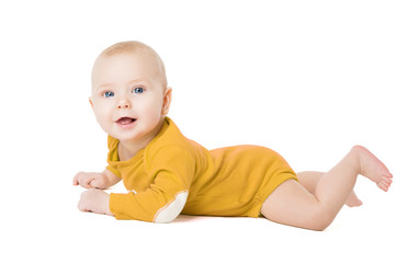 Crawling Baby Boy, Happy Infant Kid Lying on White, Six Months Old Child