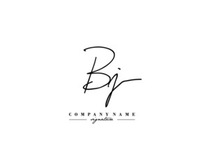 B J BJ Signature initial logo template vector