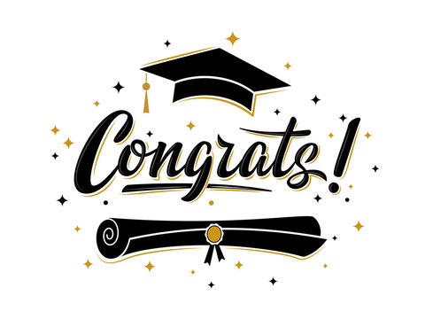 Congrats! greeting sign for graduation party. Class of 2019. Academic cap and diploma. Vector design for congratulation ceremony, invitation card, banner. Grads symbol for university, school, academy