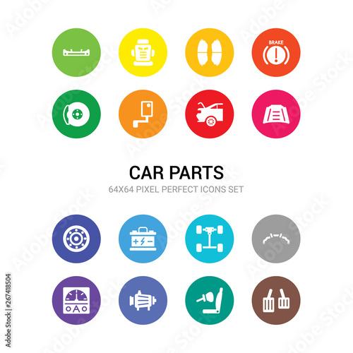 16 Car Parts Vector Icons Set Included Car Accelerator Car Air Bag
