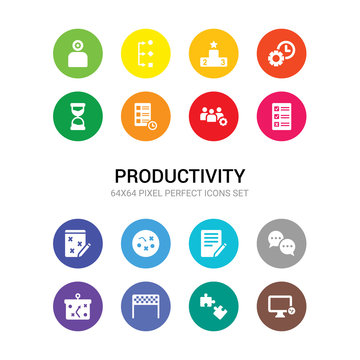 16 productivity vector icons set included productivity tools, puzzle piece, racing flag, soccer tactics diagram, speech bubbles, survey, tactics, task page with marks, tasks, teamwork, time